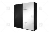 Skříň s posuvnými dveřmi Beta 200 Černý/Černý - Zrcadla 22W01657