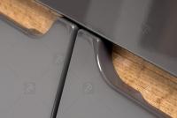 Niska Skrinka stojaca do lazienki Bali Grey 810 - Grafitový lesk / Dub wotan Nábytok bez uchwytowe