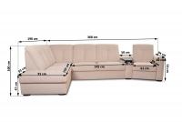 Rohová sedacia súprava z elektrycznie wysuwana funkcja Relax Presto OTM-BK/2,5F/TT/1RFele - Dopredaj kolekcie   Rozmery naroznika