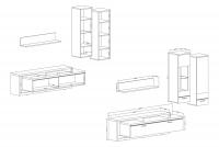 Moderná obývacia stena Cordoba Matera/Matera-Artisan Komplet nábytku  - rozmery