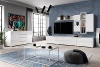 TV komoda so zásuvkami Helio 38 Biela - Biele sklo  Komplet nábytku Helio