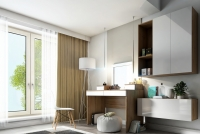 Toaletný stolík z zrkadlom Combo 14 i 10 - Dub wotan/MDF Biely lesk  Toaletný stolík Combo do izby