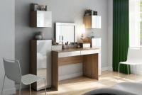 Toaletný stolík z zrkadlom Combo 14 i 10 - Dub wotan/MDF Biely lesk  Toaletný stolík Combo do spálne jasnej
