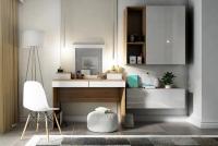 Toaletný stolík z zrkadlom Combo 14 i 10 - Dub wotan/MDF Biely lesk  Toaletný stolík Combo Dub wotan