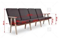 Kreslo - Klubová lavica do čakárne 4 os. cztery Stoličky do čakárne - Rozmery