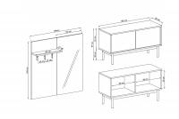 Komplet nábytku do predsiene Revi Jackson Hickory / Grafit šatník Revi - Rozmery
