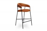 Barová židle čalouněná Nicole na czarnym stelazu - Oranžový