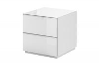 TV komoda so zásuvkami Helio 38 Biela - Biele sklo