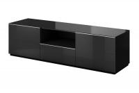 TV komoda s výklenkom Helio 40 Čierna - Čierne sklo