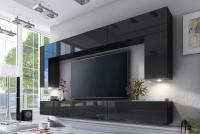 Komoda trojdverová Combo 6 - grafit/MDF Čierny lesk Obývacia stena s osvetlením