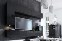 Komoda trojdverová Combo 6 - grafit/MDF Čierny lesk Komplet nábytku do obývačky