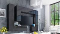 Komoda trojdverová Combo 6 - grafit/MDF Čierny lesk moderná Obývacia stena