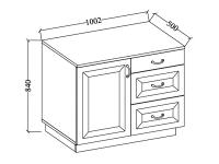 Komoda Weronika WHAR 100 1D3S - Komoda so zásuvkami do jedálne