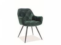Židle čalouněné Cherry Velvet - Černý Rošt/Zelený bluvel 78