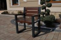 Židle moderní s opěradlem a loketními opěrkami - palisandr