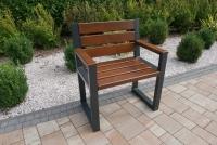 Židle moderní s opěradlem a loketními opěrkami - Vlašský ořech