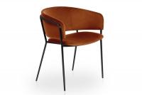 Židle čalouněná Nicole na černých nožičkách - Oranžový
