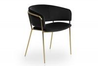 Židle čalouněná Nicole na zlatých nožičkách - Černý