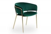 Židle čalouněná Nicole na zlatých nožičkách - Zelený