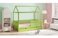 Detská posteľ domček Dora 2 Certifikát limonkowe Posteľ drewniane domek