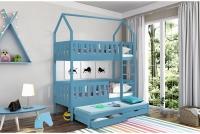 Posteľ domek poschodová Dolores 3-osobné Certyfikat Modré Posteľ drewniane domek