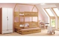 Posteľ domek poschodová Dolores 3-osobné Certyfikat Posteľ detský z wysuwanym spaniem