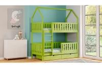 Poschodová posteľ domček Dolores Certifikát Zelené Posteľ poschodová domek