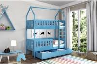 Poschodová posteľ domček Dolores Certifikát Modré Posteľ detský w ksztalcie domka