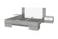 Postel se stolky 140 a možností zásuvek Vera 80 Beton colorado/Bílý