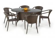 MASTER stôl záhradný, Farba: Sklo - Čierny, ratan - c.Hnedá