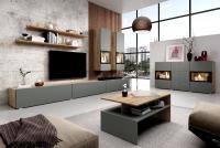 Obývacia stena Baros 10 Dub artisan/šedý mat Komplet nábytku šedý