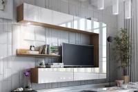 Obývací stěna moderní Combo 1 Dub wotan/MDF Bílý lesk