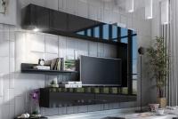 Obývací stěna moderní Combo 1 grafit/MDF Černý lesk
