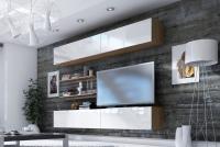 Obývací stěna moderní Combo 10 Dub wotan/MDF Bílý lesk