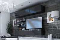 Obývací stěna moderní Combo 10 grafit/MDF Černý lesk
