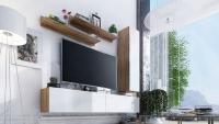 Obývací stěna moderní Combo 11 Dub wotan/MDF Bílý lesk