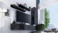Obývací stěna moderní Combo 11 grafit/MDF Černý lesk