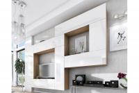 Obývací stěna moderní Combo 12 Dub wotan/MDF Bílý lesk