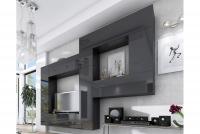 Obývací stěna moderní Combo 12 grafit/MDF Černý lesk
