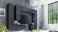 Obývací stěna moderní Combo 13 grafit/MDF Černý lesk