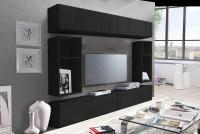Obývacia stena Combo 14 grafit/MDF Čierny lesk
