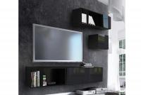 Obývacia stena Combo 15 grafit/MDF Čierny lesk
