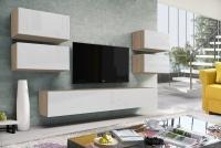 Obývacia stena moderná Combo 16 Dub wotan/MDF Biely lesk