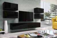 Obývacia stena Combo 16 grafit/MDF Čierny lesk