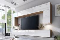 Obývací stěna moderní Combo 2 Dub wotan/MDF Bílý lesk