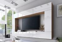 Obývací stěna moderní Combo 3 Dub wotan/MDF Bílý lesk