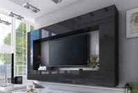 Obývací stěna moderní Combo 3 grafit/MDF Černý lesk