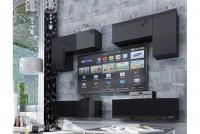 Obývací stěna moderní Combo 4 grafit/MDF Černý lesk
