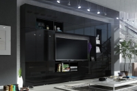 Obývací stěna moderní Combo 42 grafit/MDF Černý lesk