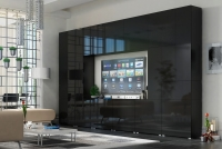 Obývací stěna moderní Combo 43 grafit/MDF Černý lesk